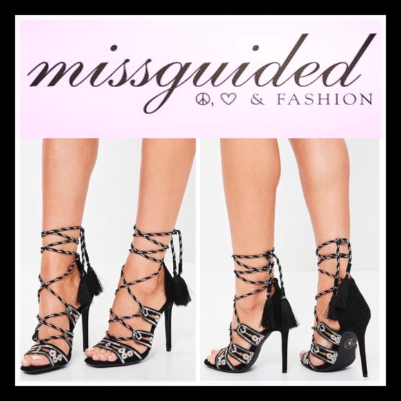 MISSGUIDED Lace Up Tassel Stiletto Heeled Sandal